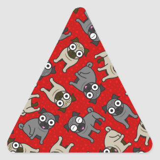 Pug-a-Dot (Red) Triangle Sticker