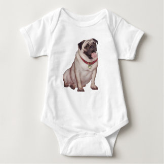 Pug (A) - fawn with red collar Baby Bodysuit
