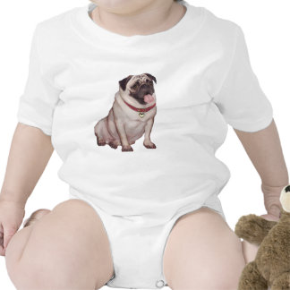 Pug (A) - fawn with red collar Baby Bodysuits