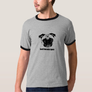 pug alien - retro -back from outer space tee shirt