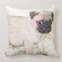 Pug American MoJo Throw Pillow