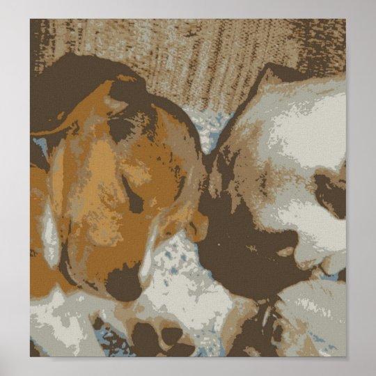 Pug and beagle Canvas Print