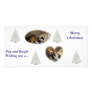 Pug and Beagle Christmas Personalized Photo Card