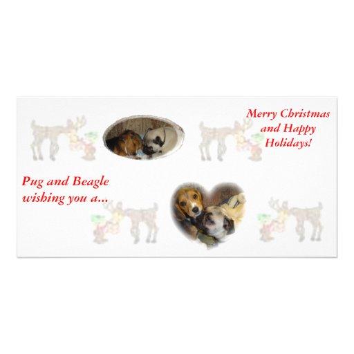 Pug and Beagle Christmas Photo Card Template
