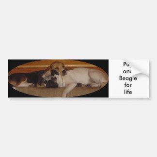 Pug and beagle for life bumper sticker car bumper sticker