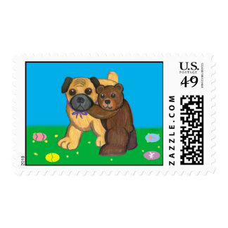 Pug and Bear Easter Postage Stamps