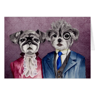 Pug and Brussel Griffon Dogs in Vintage Attire Card