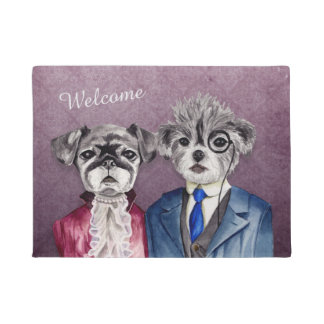Pug and Brussel Griffon Dogs in Vintage Attire Doormat