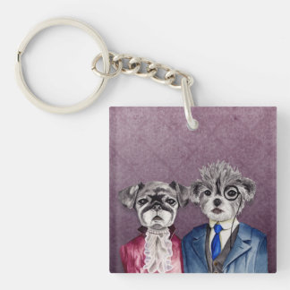 Pug and Brussel Griffon Dogs in Vintage Attire Keychain
