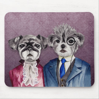Pug and Brussel Griffon Dogs in Vintage Attire Mouse Pad