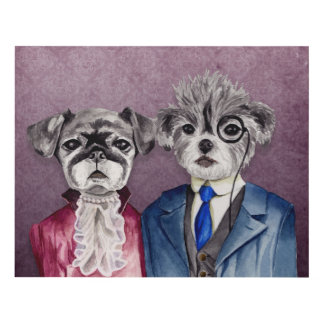 Pug and Brussel Griffon Dogs in Vintage Attire Panel Wall Art