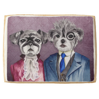 Pug and Brussel Griffon Dogs in Vintage Attire Shortbread Cookie