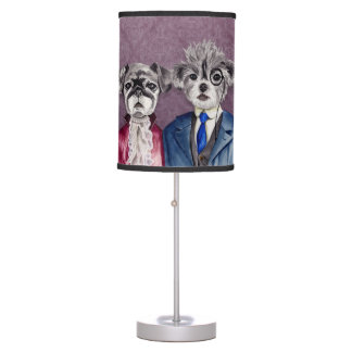 Pug and Brussel Griffon Dogs in Vintage Attire Table Lamp
