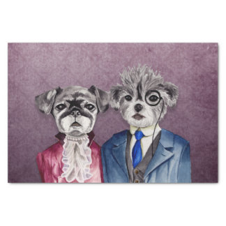 Pug and Brussel Griffon Dogs in Vintage Attire Tissue Paper