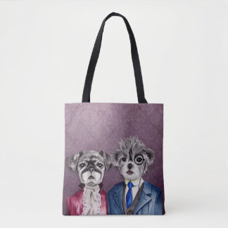 Pug and Brussel Griffon Dogs in Vintage Attire Tote Bag