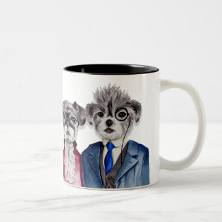 Pug and Brussel Griffon Dogs in Vintage Attire Two-Tone Coffee Mug