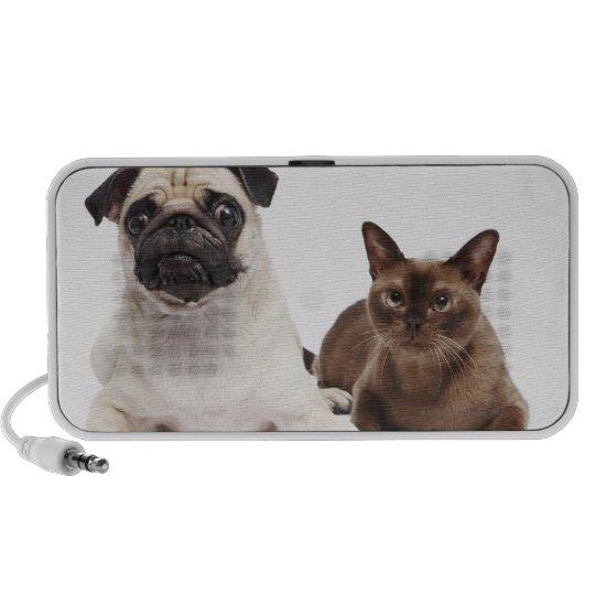 Pug and Burmese cat Portable Speaker