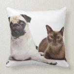 Pug and Burmese cat Throw Pillow