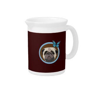 pug and butterfly drink pitcher