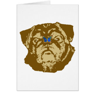 Pug and Butterfly Greeting Cards