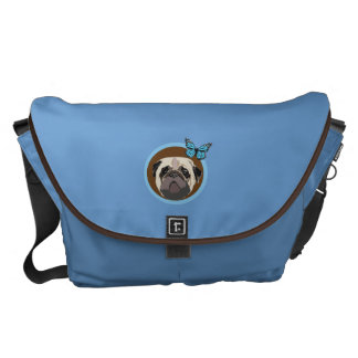Pug and butterfly messenger bags
