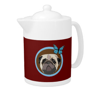 pug and butterfly teapot