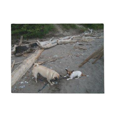 Beach Themed Pug And Chihuahua On A Beach Door Mat