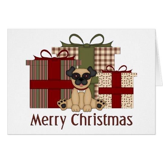 Pug and Colorful Christmas Presents Card