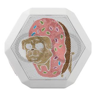 pug and donut. white bluetooth speaker