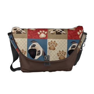 Pug and Pawprint Quilt Messenger Bag 2