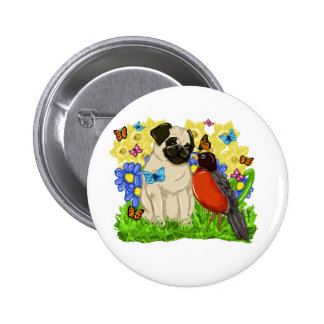 Pug and Robin - Spring Pug - 2009 - Customize 2 Inch Round Button