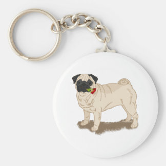 Pug and Roses Basic Round Button Keychain