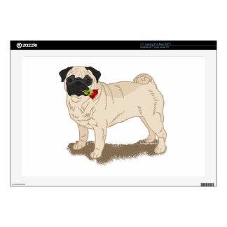 "Pug and Roses Decal For 17"" Laptop"