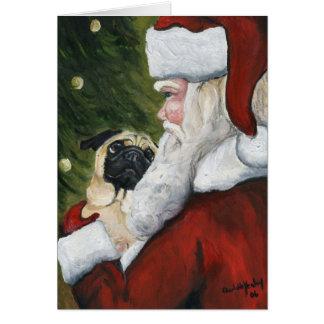 """""""Pug and Santa"""" Dog Art Christmas Card"""