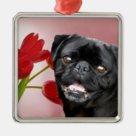 Pug and Tulips Metal Ornament