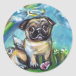 Pug Angel with pink kong Sticker