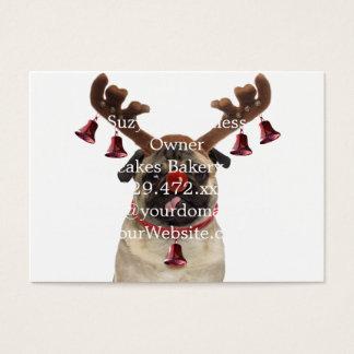 Pug antlers - christmas pug - merry christmas business card
