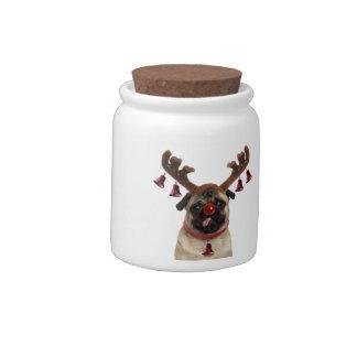 Pug antlers - christmas pug - merry christmas candy dish