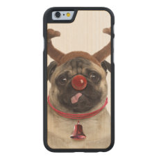Pug antlers - christmas pug - merry christmas carved maple iPhone 6 case