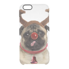 Pug antlers - christmas pug - merry christmas clear iPhone 6/6S case