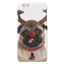 Pug antlers - christmas pug - merry christmas glossy iPhone 6 case