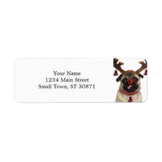 Pug antlers - christmas pug - merry christmas label