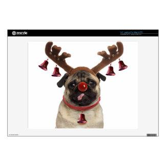 Pug antlers - christmas pug - merry christmas laptop decals