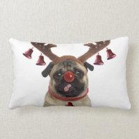 Pug antlers - christmas pug - merry christmas lumbar pillow