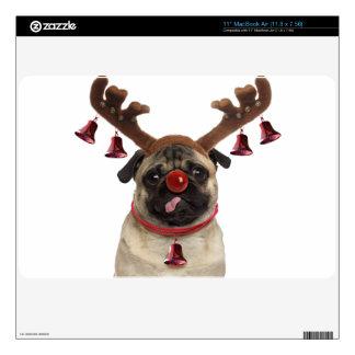Pug antlers - christmas pug - merry christmas MacBook skin