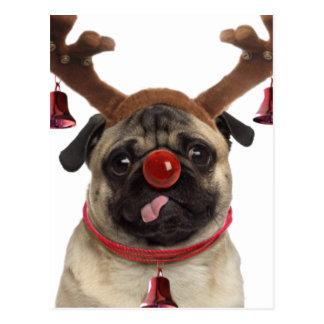 Pug antlers - christmas pug - merry christmas postcard