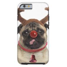 Pug antlers - christmas pug - merry christmas tough iPhone 6 case