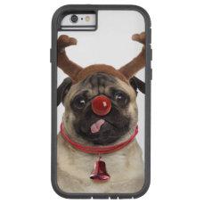 Pug antlers - christmas pug - merry christmas tough xtreme iPhone 6 case