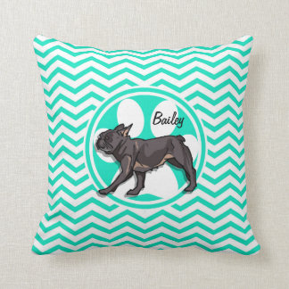 Pug; Aqua Green Chevron Throw Pillow