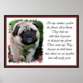 Pug Art Garden Poem Poster